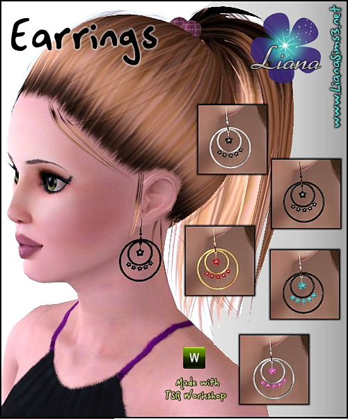 New earrings - hoops with small flowers, recolorable! Updated!!! IN PACKAGE FORMAT