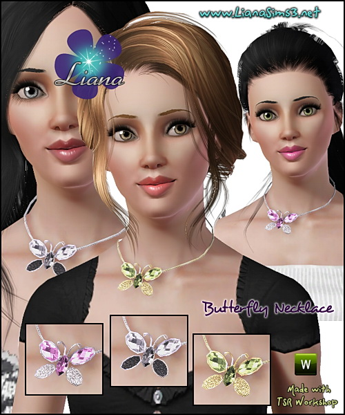 Butterfly necklace, available for teen, ya/a and elder females, recolorable, only available in package format.