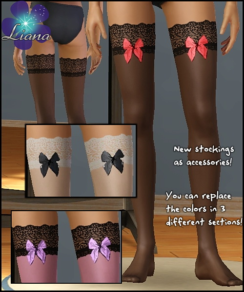 New lace stockings for your sims - you can change the colors in 3 sections! Available for teen, ya/adult, elder.