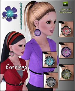Large disk earrings - 3 recolorable areas, available for ya-a, teen and elder. Updated!!! IN PACKAGE FORMAT