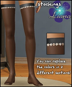 New satin and rhinestone stockings for your sims - you can change the colors in 2 sections! Available for teen, ya/adult, elder.