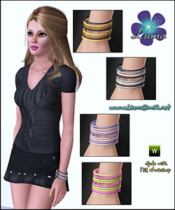 Multiple bangles with 3 recolorable areas, available for ya-a, teen and elder female. Updated!!! IN PACKAGE FORMAT