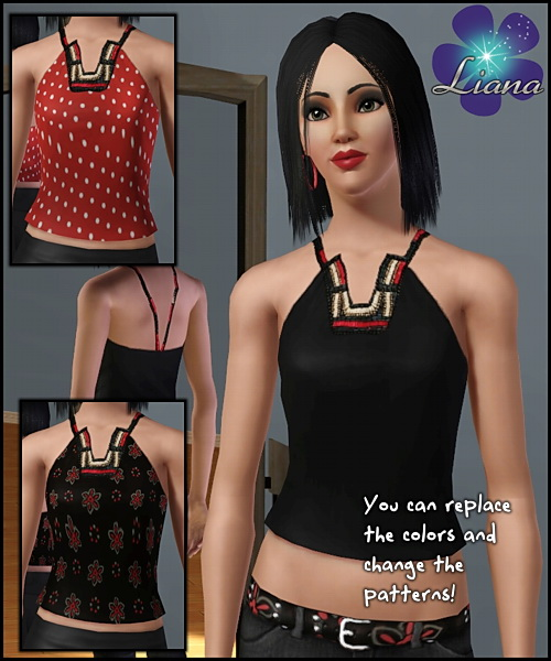 Halter ethnic top with wooden beads in red, ivory and black (as stencils) - you can change the color and the pattern for the top. Available for everyday and formal.