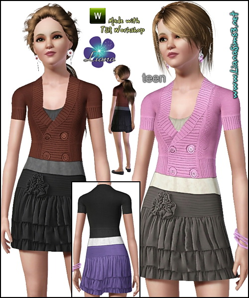 Teen everyday outfit featuring a beautiful skirt, shirt and a cosy cardigan. Recolorable.