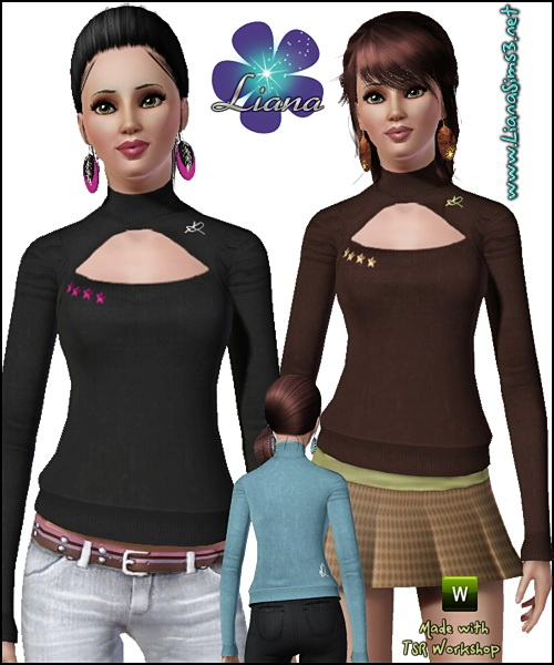 Turtle neck sweater with big cleavage, recolorable