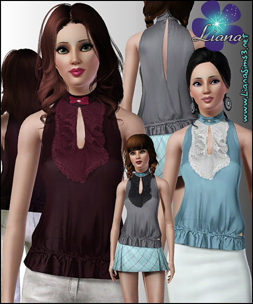 Turtle neck satin top with front ruffles and a small bow on the neck, recolorable!
