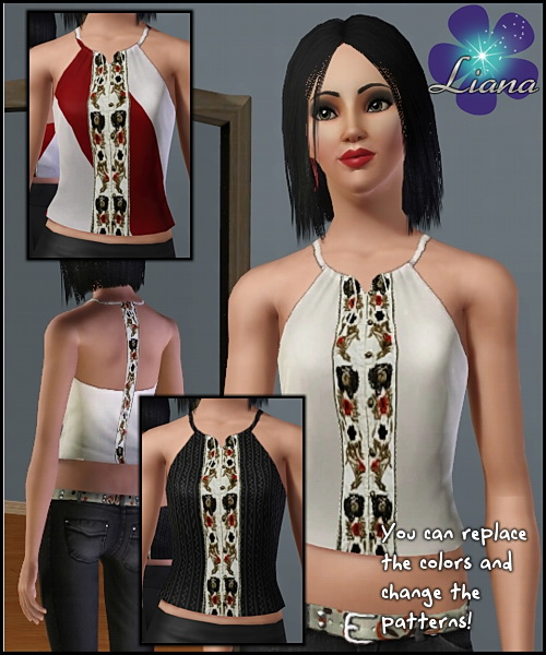 Halter ethnic top with embroidery flowers in red, black and brown (as stencils) - you can change the color and the pattern for the top. Available for everyday and formal.