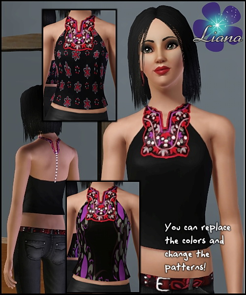 Halter ethnic top with apllique in red, ivory and purple (as stencils) - you can change the color and the pattern for the top. Available for everyday and formal.