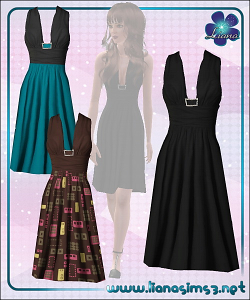 Stylish knee-length dress, little black dress version included, recolorable!