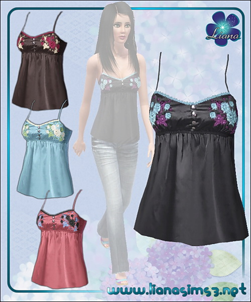 Satin embridered spaghetti straps top, recolorable, 4 color variations included!