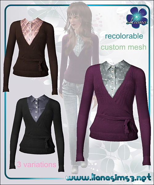 V-neck cardigan featuring a satin chemise underneath, recolorable!