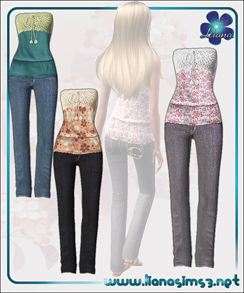 Outfit featuring a sweet crochet top and jeans, recolorable.