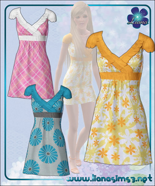 Colorful spring dress in 3 variations, recolorable!