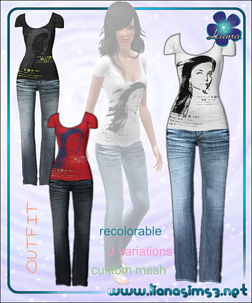 Casual outfit - t-shirt and jeans, recolorable