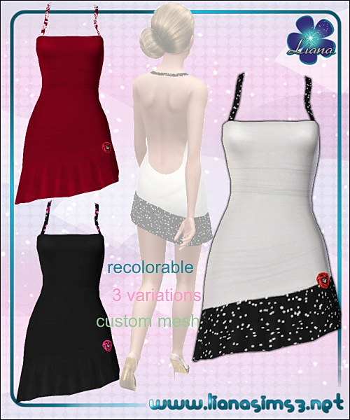 Asymmetrical dress with 3d rose detail