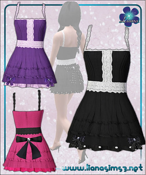 Lolita dress with small 3d bows on the trim and large 3d bow on the back