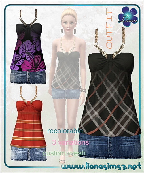Outfit with mini denim skirt and babydoll top, 3 variations, recolorable