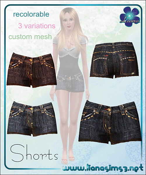 Denim shorts with orange stitching