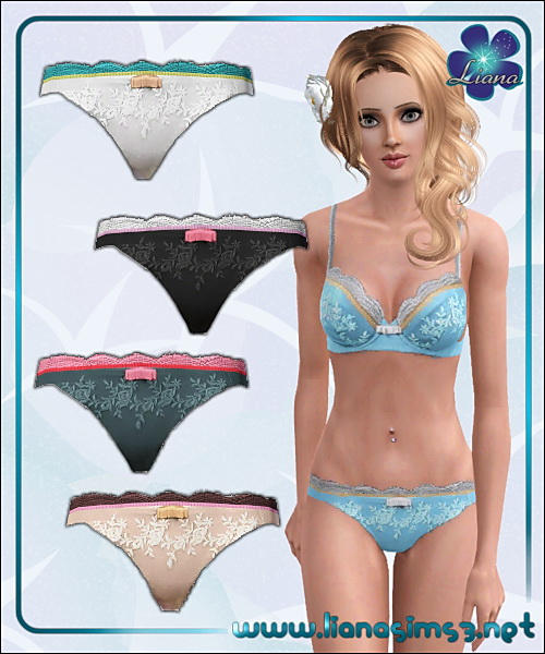Sweet lingerie thongs, recolorable, 5 variations included.