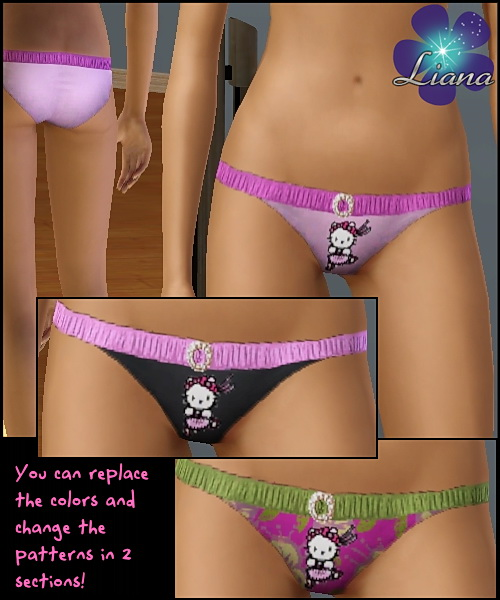 <p>Hello Kitty Bikini - 2 changeable sections (you can add any new color or pattern you desire on each section)</p>