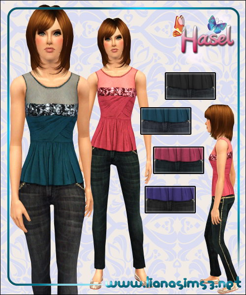 Glitter top and jeans outfit, fully recolorable