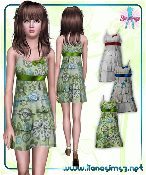 Frilled dress with ribbon detail, recolorable