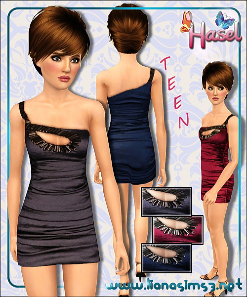 One shoulder mini formal dress for teen, recolorable