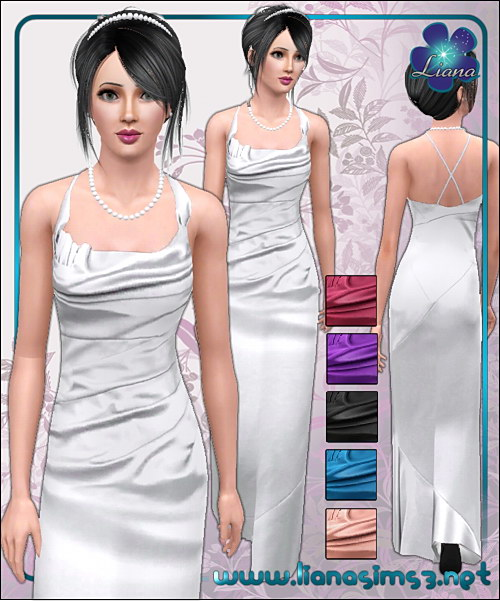 Long satin formal dress, recolorable