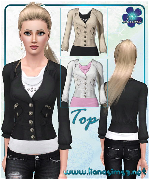 Stylish top featuring a modern, feminine jacket, recolorable