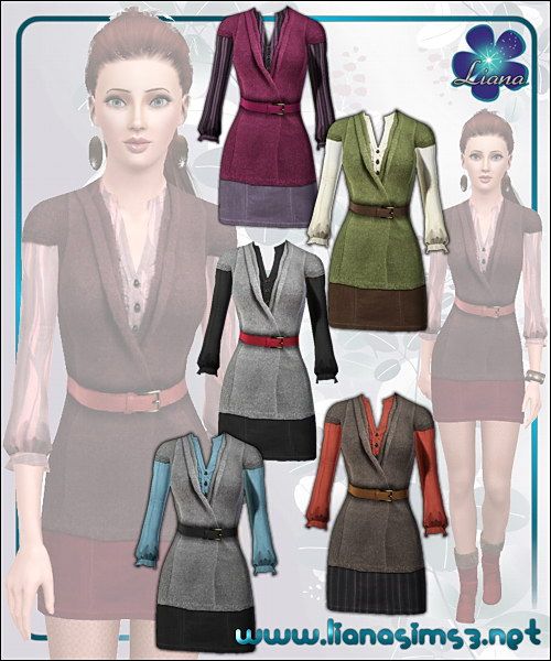 Belted cardigan featuring a mini skirt and a buttoned shirt, recolorable