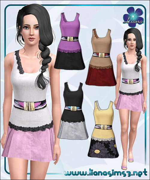 Embroidered tank top and suede skirt outfit featuring a fashion wide belt, recolorable