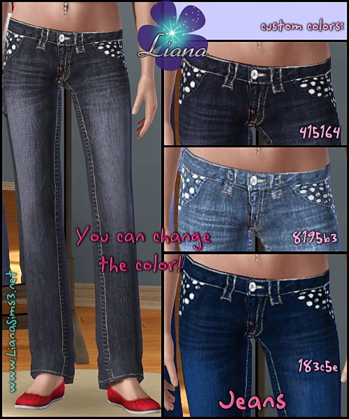 Very detailed low rise boot cut jeans with white stitching and silver buttons for sims3.