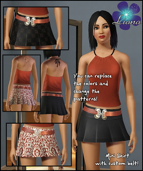 Mini skirt with custom belt - you can add any color or pattern to the skirt, the belt cannot change color.