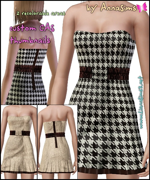 Tweed tube mini dress featuring a stretch belt and back zipper. 2 color variations and 2 styles included in the rar file. With custom thumbnails.