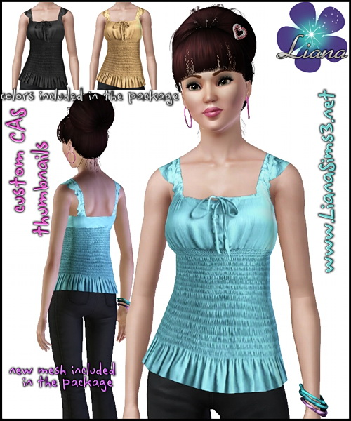Update your sims wardrobe with this trendy blouse featuring an elastic smocked waist and a ruffle hem. 3 color variations included and a new mesh!