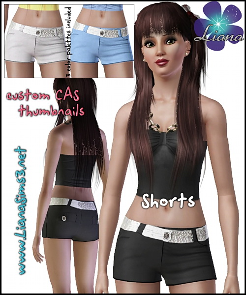 Shorts with fashion silver belt, 3 color variations and a new mesh included in the pack. Made with TSR Workshop.