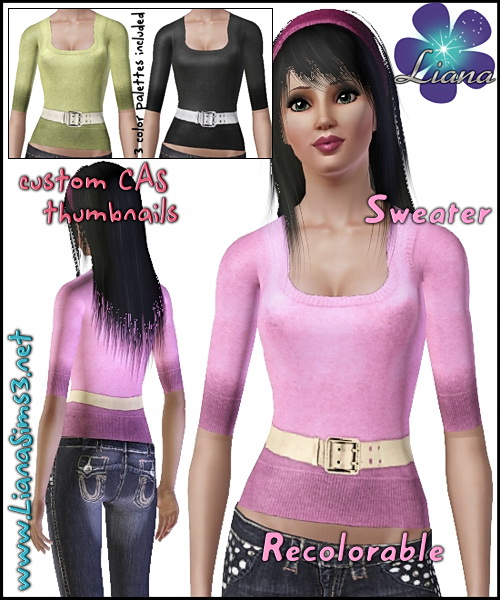 Wool-blend sweater featuring a shiny medium belt. Recolorable, 3 color variations included.
