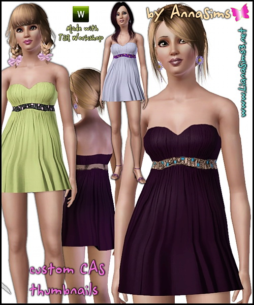 Babydoll dress, 3 color variations, 3 recolorable areas, custom mesh included, made with TSR Workshop