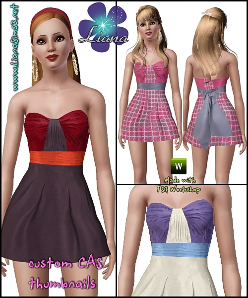Paint the town any color you want in this sweet fashionable dress, 3 recolorable areas, 3 color variations included, new mesh, made with TSR Workshop!