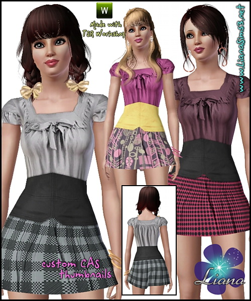 Fashionable and easy to wear outfit, 3 recolorable areas, custom mesh and CAS thumbnails.