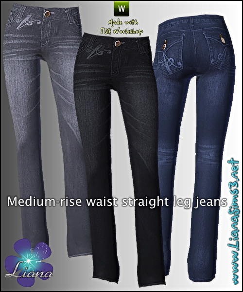 Medium rise waist straight leg jeans, recolorable, 3 color variations included!