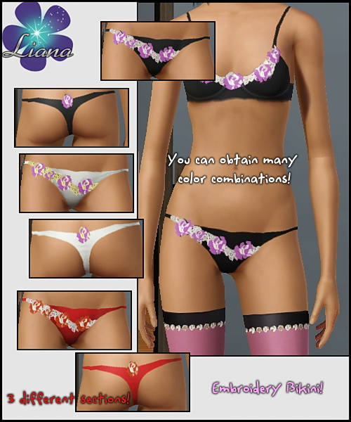 Embroidered bikini with 2-color roses - you can change the colors and the patterns in 3 sections! Available in ivory.
