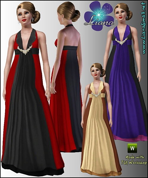 Empire waist formal dress featuring a crystal beading detail, recolorable, 3 color variations included, launcher and CAS thumbnails, custom mesh included!
