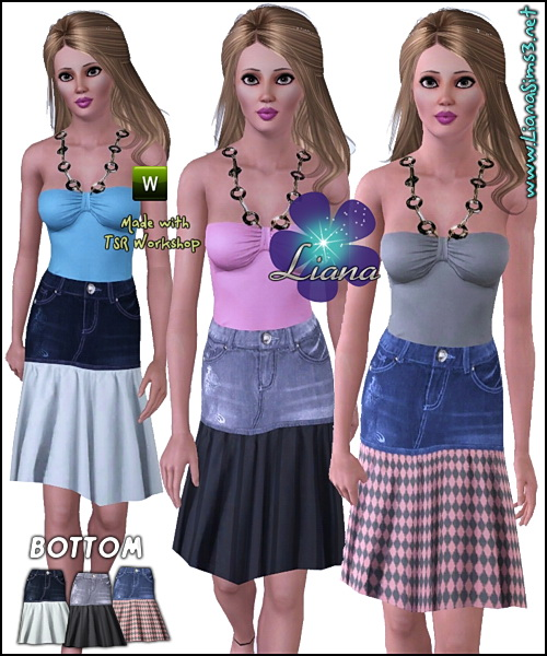 Cotton and denim skirt in 3 combinations, recolorable.