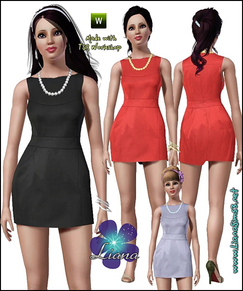 Classic tulip dress featuring pearls necklace, recolorable.