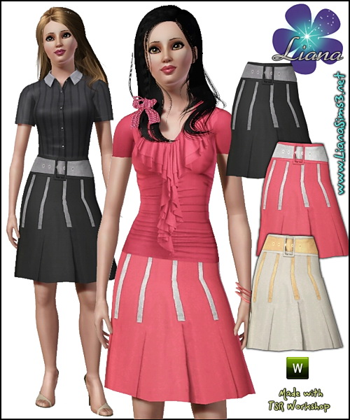Pleated skirt with wide fabric belt, recolorable.