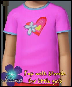Flower and hearts stencil shirt for children - you can change the color and the pattern for the top. Available for everyday and formal.