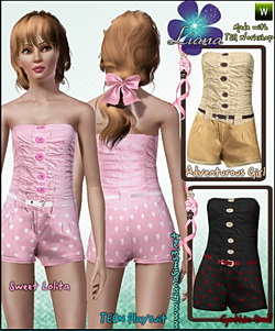 Playsuit with front buttons and skinny belt, outfit for teen, recolorable.