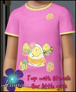 Little chickens design stencil shirt for children - you can change the color and the pattern for the top. Available for everyday and formal.