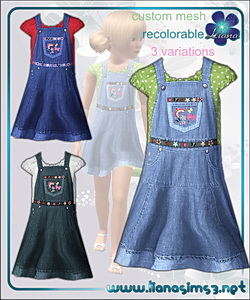 Denim jumper dress dress with embroidered flowers for girls, recolorable